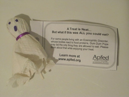 Cute idea! Some families create a ghost by wrapping a Dum-Dums® lollipop with a napkin or tissue, and tying a ribbon around with a note attached that explains eos. They hand these out on Halloween to help spread awareness.